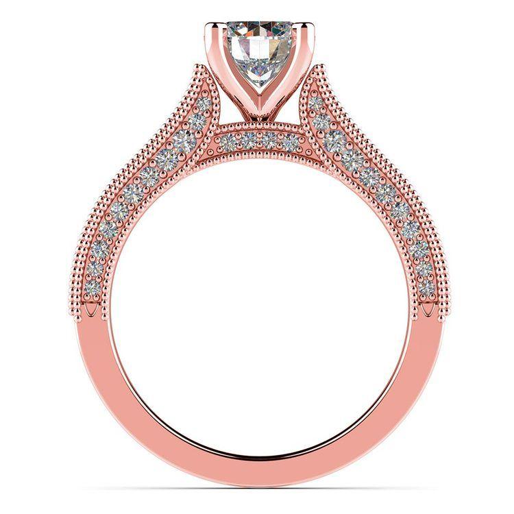 Vintage Milgrain Diamond Engagement Ring in Rose Gold | 02