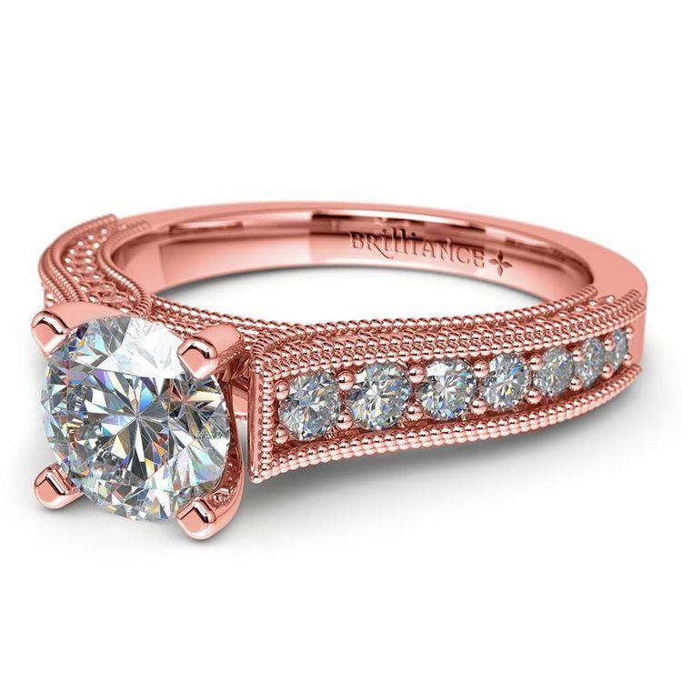 Vintage Milgrain Diamond Engagement Ring in Rose Gold | 04