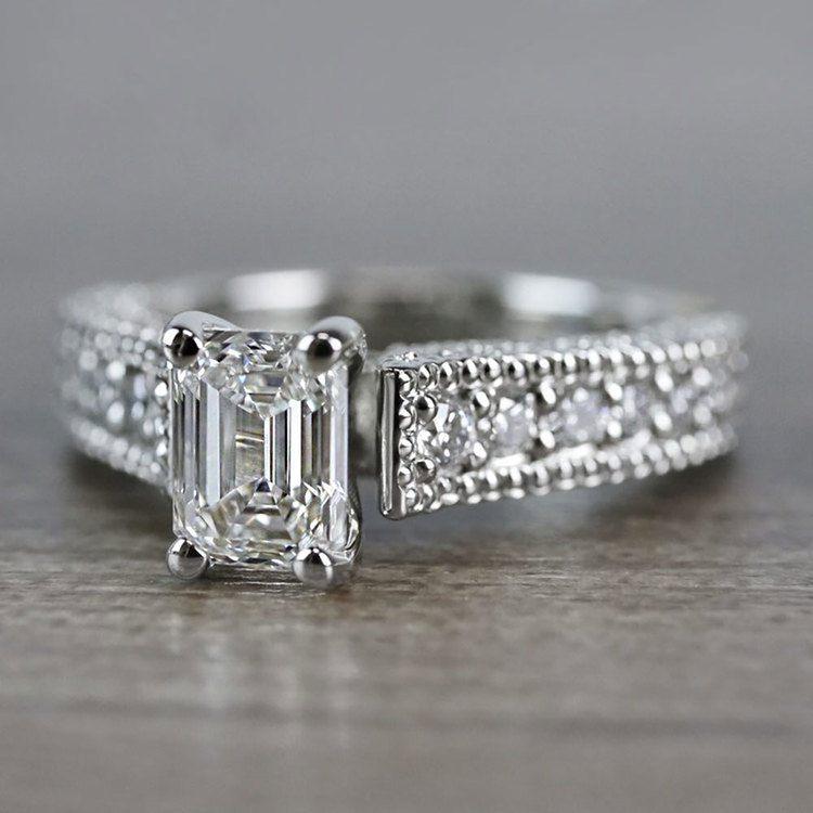 Vintage Milgrain Diamond Engagement Ring in White Gold   05