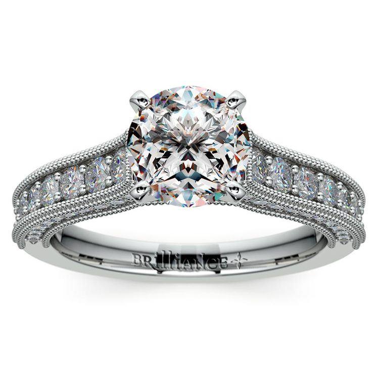 Vintage Milgrain Diamond Engagement Ring in White Gold | 01