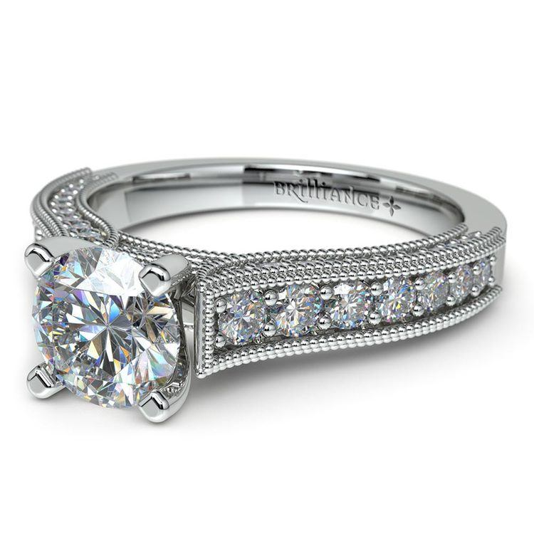 Vintage Milgrain Diamond Engagement Ring in White Gold | 04