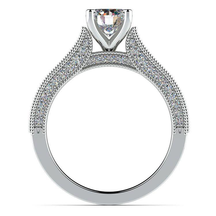 Vintage Milgrain Diamond Engagement Ring in White Gold | 02