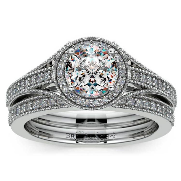 Vintage Milgrain Halo Diamond Bridal Ring Set In Platinum | 01