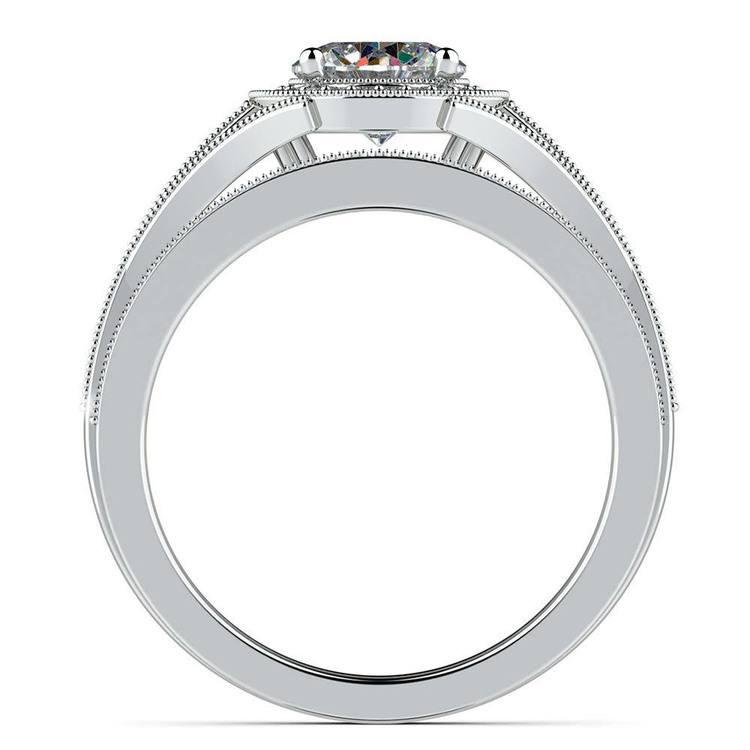 Vintage Milgrain Halo Diamond Bridal Ring Set In Platinum | 02
