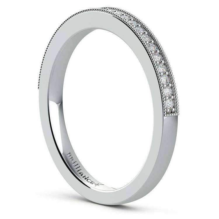 Vintage Milgrain Halo Diamond Bridal Ring Set In Platinum | 05