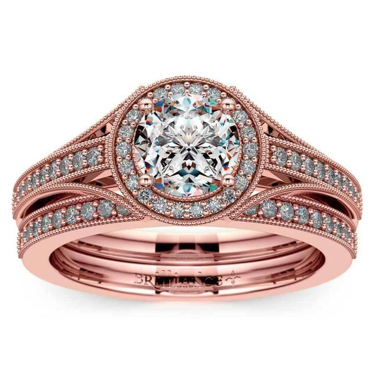 Vintage Milgrain Halo Diamond Bridal Ring Set In Rose Gold | 01