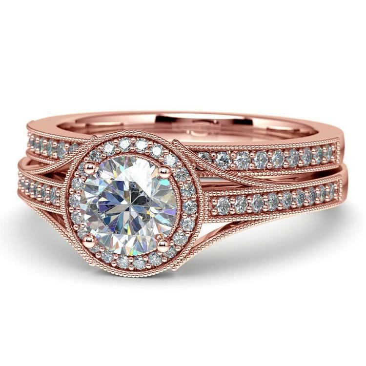 Vintage Milgrain Halo Diamond Bridal Ring Set In Rose Gold | 04