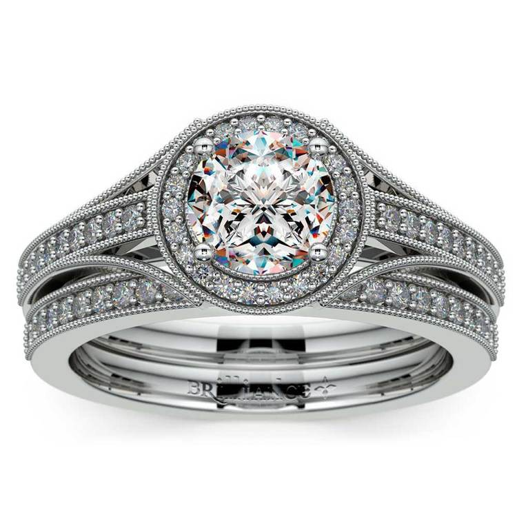 Vintage Milgrain Halo Diamond Bridal Ring Set In White Gold | 01