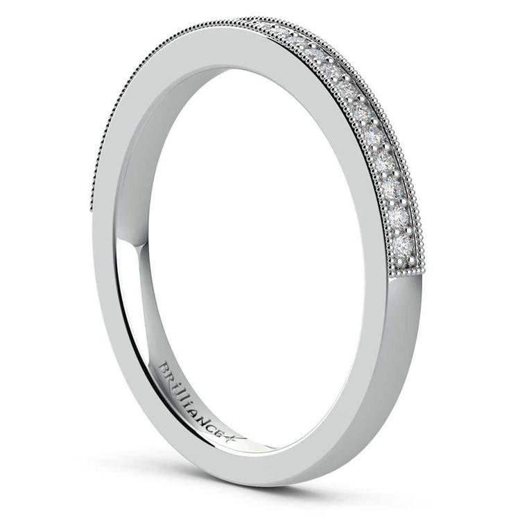 Vintage Milgrain Halo Diamond Bridal Ring Set In White Gold | 05