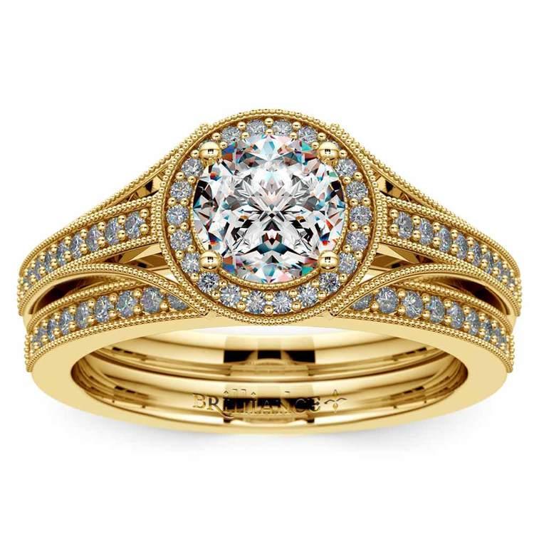 Vintage Milgrain Halo Diamond Bridal Ring Set In Yellow Gold   01