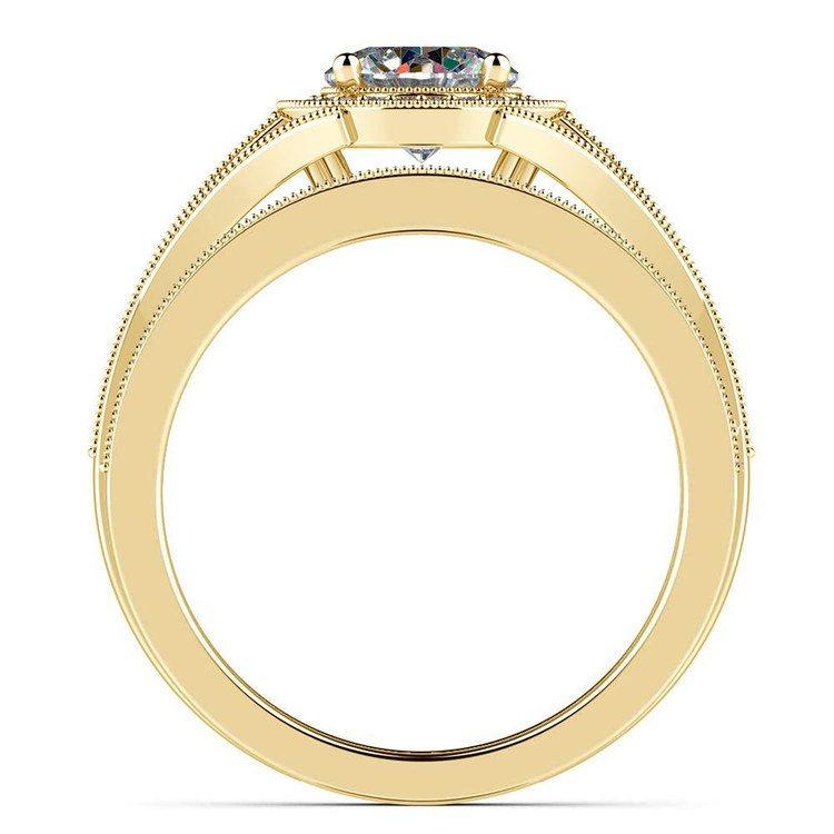 Vintage Milgrain Halo Diamond Bridal Ring Set In Yellow Gold   02