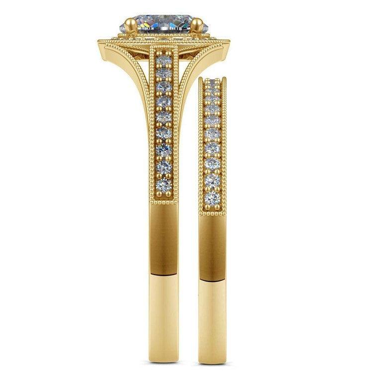 Vintage Milgrain Halo Diamond Bridal Ring Set In Yellow Gold   03