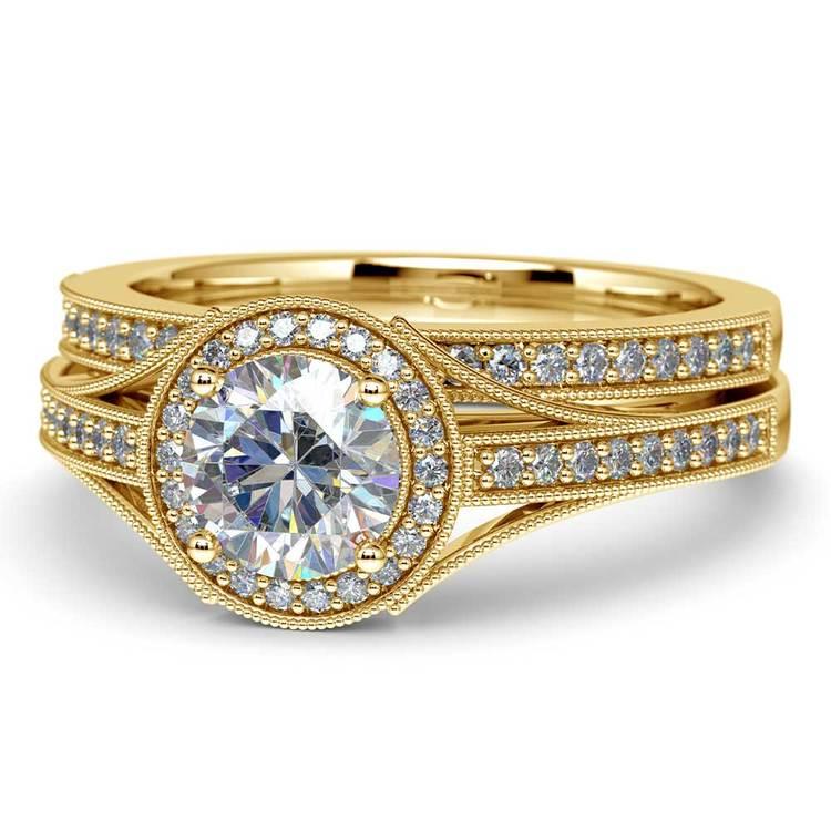 Vintage Milgrain Halo Diamond Bridal Ring Set In Yellow Gold   04