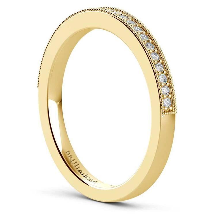 Vintage Milgrain Halo Diamond Bridal Ring Set In Yellow Gold   05