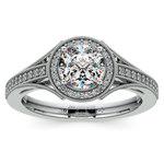 Vintage Milgrain Halo Diamond Engagement Ring in Platinum | Thumbnail 01