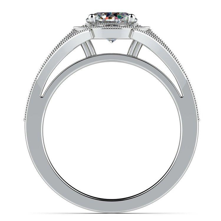 Vintage Milgrain Halo Diamond Engagement Ring in Platinum | 02