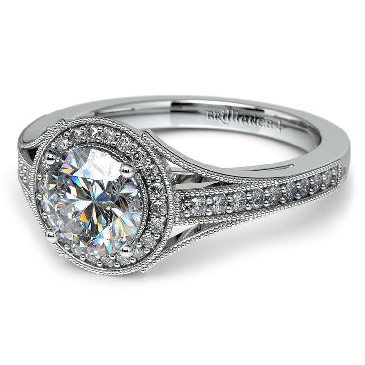 Vintage Milgrain Halo Diamond Engagement Ring in Platinum | 04