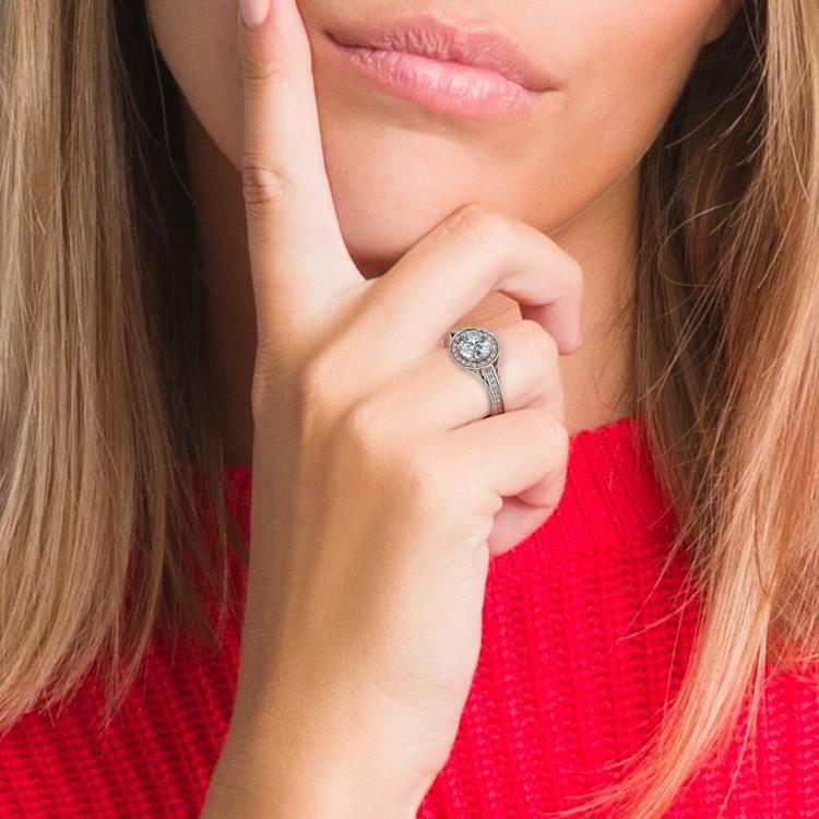 Vintage Milgrain Halo Diamond Engagement Ring in Platinum | 06