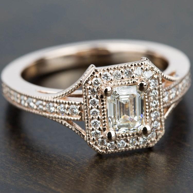 Vintage Milgrain Halo Diamond Engagement Ring in Rose Gold | 05