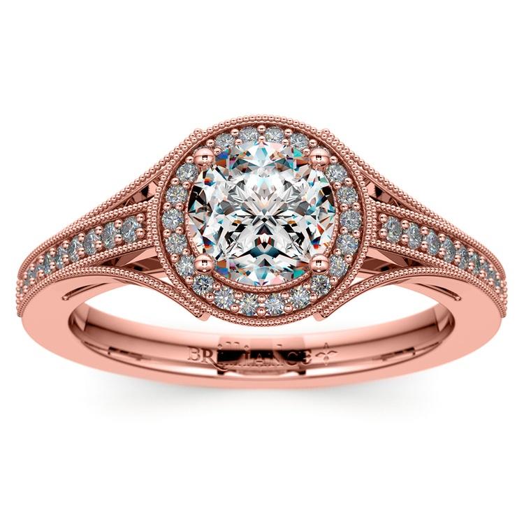 Vintage Milgrain Halo Diamond Engagement Ring in Rose Gold | 01