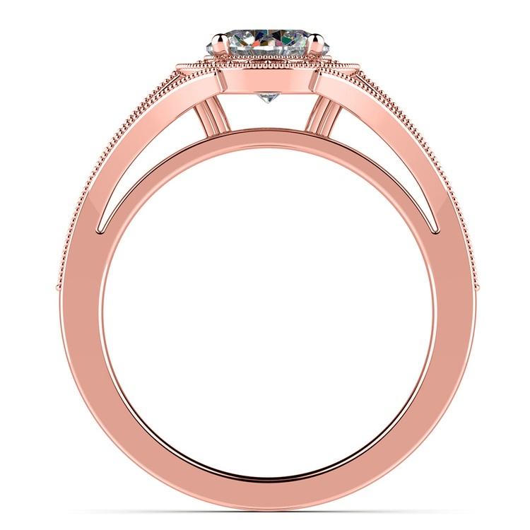Vintage Milgrain Halo Diamond Engagement Ring in Rose Gold | 02