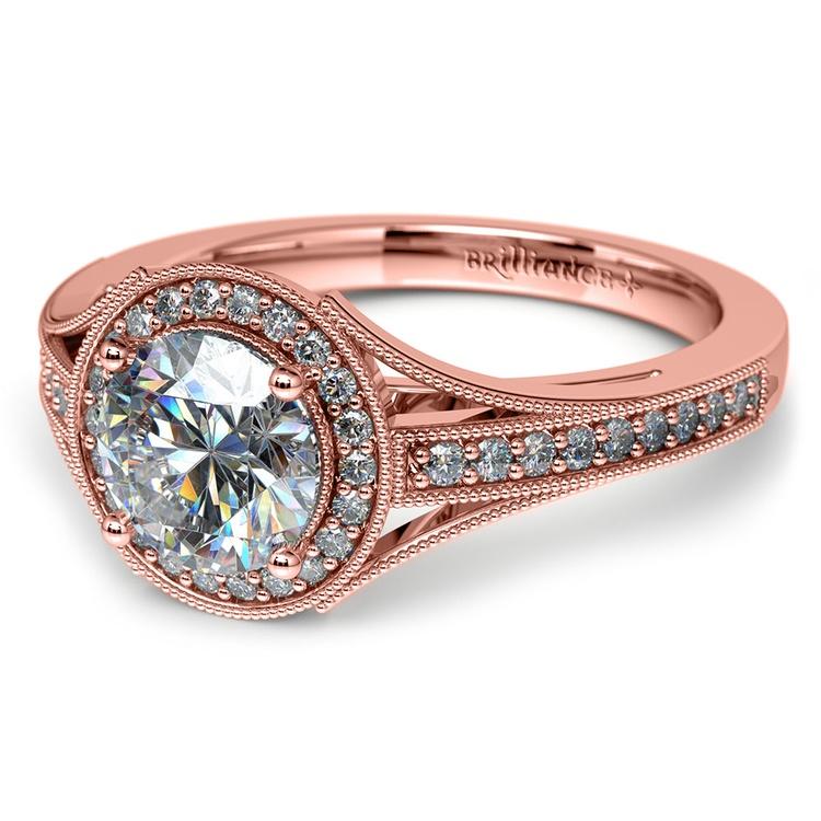 Vintage Milgrain Halo Diamond Engagement Ring in Rose Gold | 04