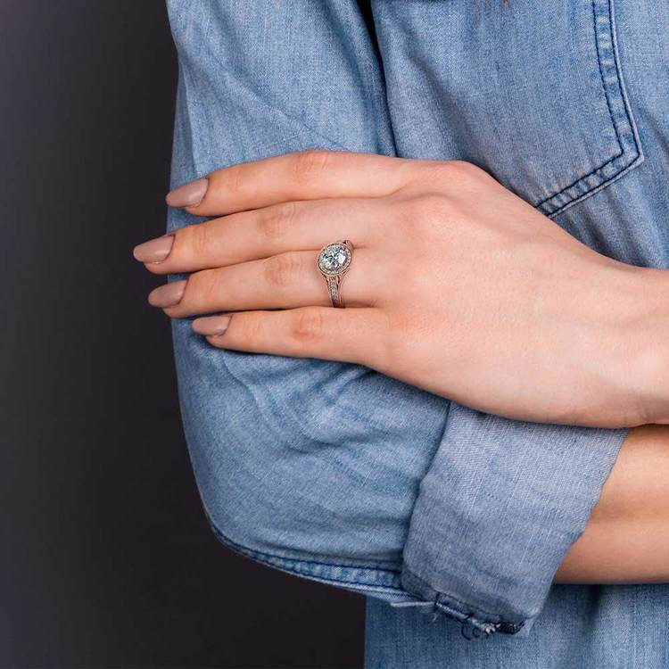 Vintage Milgrain Halo Diamond Engagement Ring in Rose Gold   07