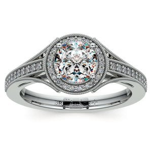 Vintage Milgrain Halo Diamond Engagement Ring in White Gold