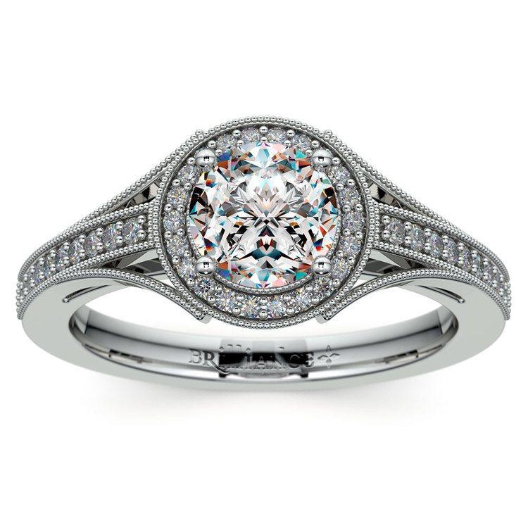 Vintage Milgrain Halo Diamond Engagement Ring in White Gold | 01