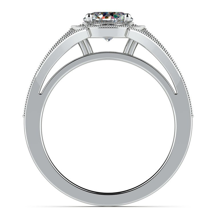 Vintage Milgrain Halo Diamond Engagement Ring in White Gold | 02
