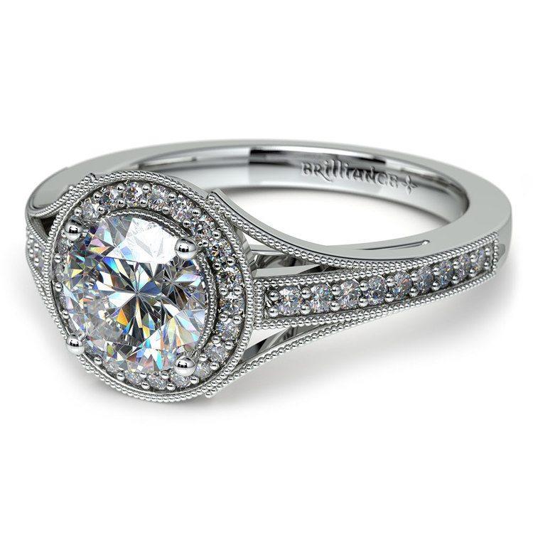 Vintage Milgrain Halo Diamond Engagement Ring in White Gold | 04