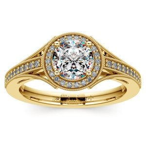 Vintage Milgrain Halo Diamond Engagement Ring in Yellow Gold