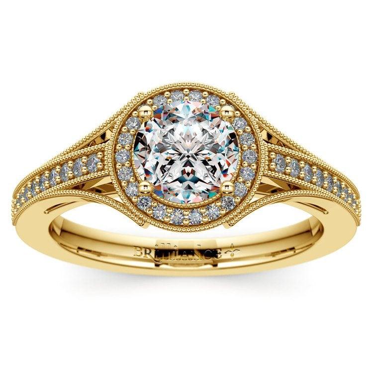 Vintage Milgrain Halo Diamond Engagement Ring in Yellow Gold | 01