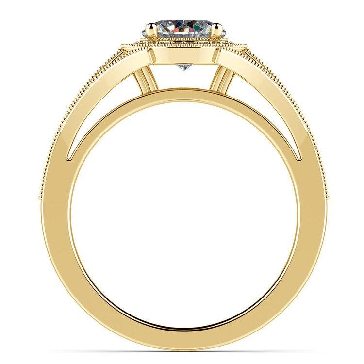 Vintage Milgrain Halo Diamond Engagement Ring in Yellow Gold | 02