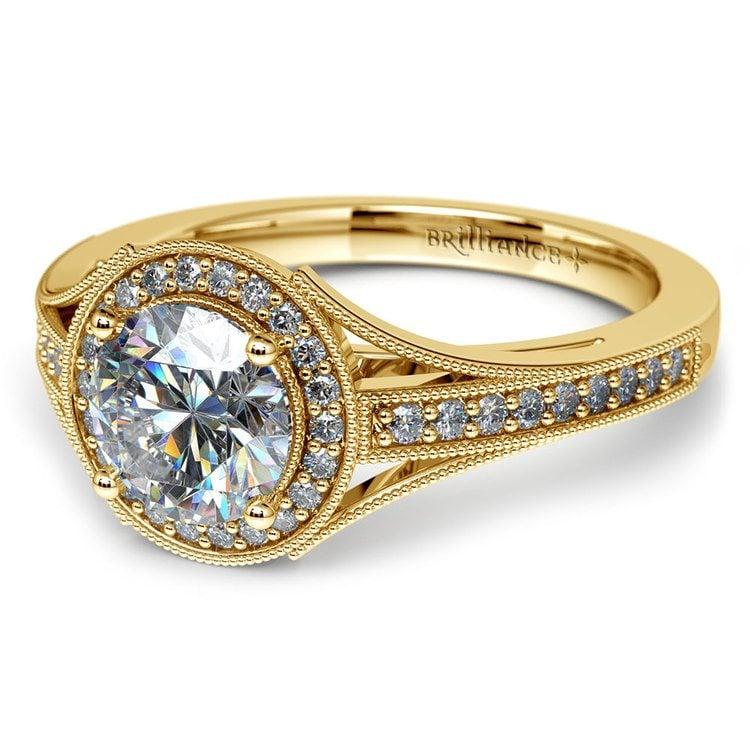 Vintage Milgrain Halo Diamond Engagement Ring in Yellow Gold | 04