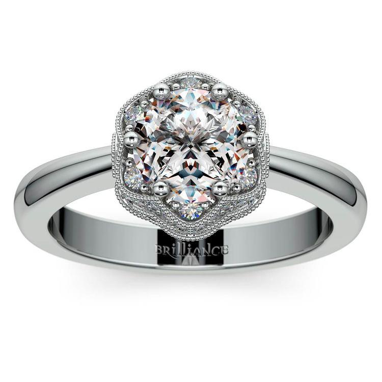Vintage Sculptural Diamond Halo Engagement Ring in Platinum | 01
