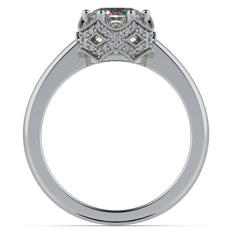 Vintage Sculptural Diamond Halo Engagement Ring in Platinum | 02