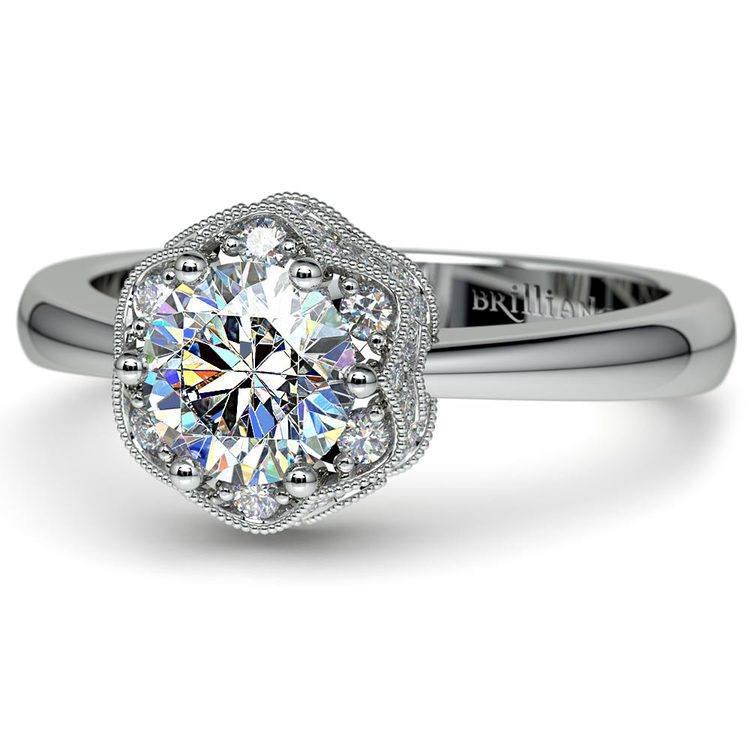 Vintage Sculptural Diamond Halo Engagement Ring in Platinum | 04