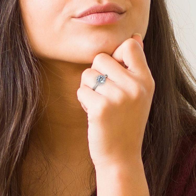 Vintage Sculptural Diamond Halo Engagement Ring in Platinum | 06