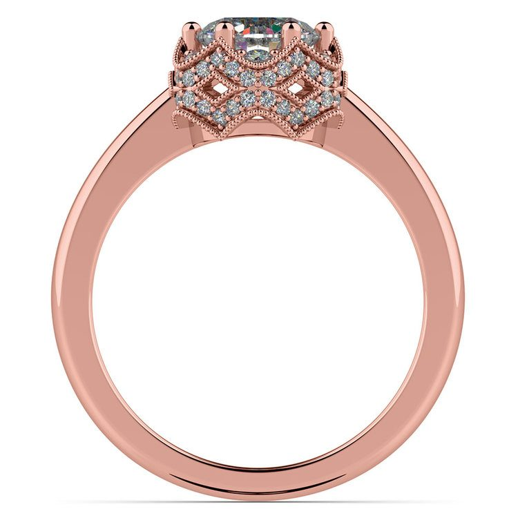 Vintage Sculptural Diamond Halo Engagement Ring in Rose Gold | 02