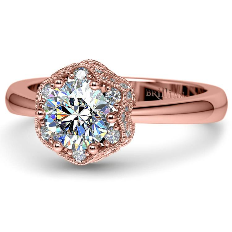 Vintage Sculptural Diamond Halo Engagement Ring in Rose Gold | 04
