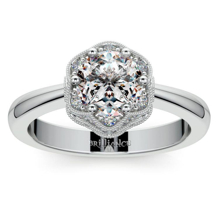 Vintage Sculptural Diamond Halo Engagement Ring in White Gold | 01