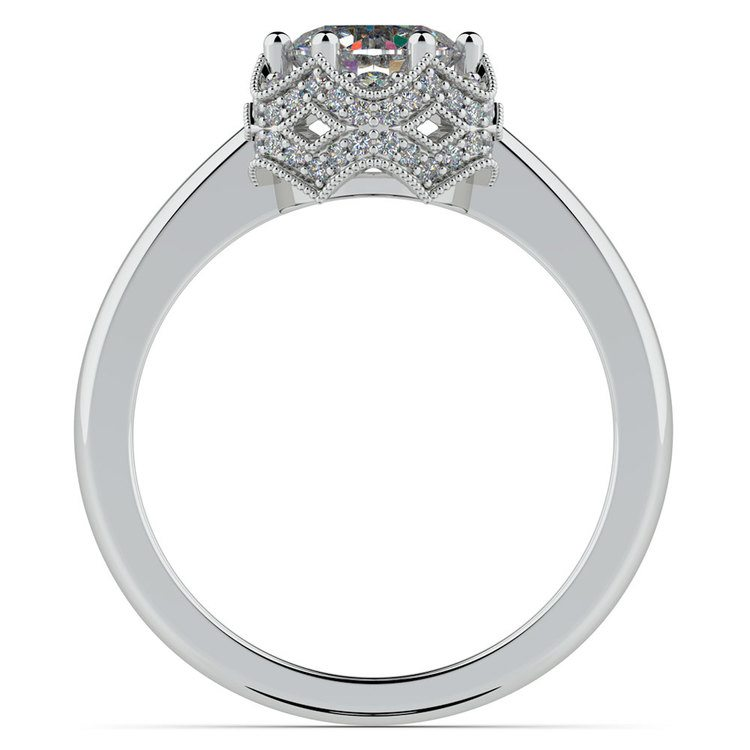 Vintage Sculptural Diamond Halo Engagement Ring in White Gold | 02