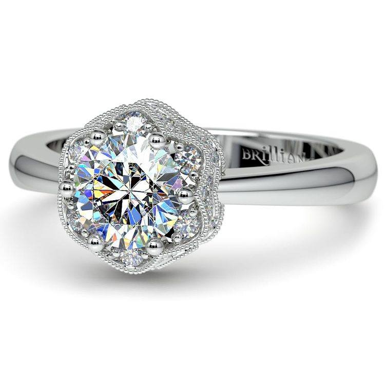 Vintage Sculptural Diamond Halo Engagement Ring in White Gold | 04