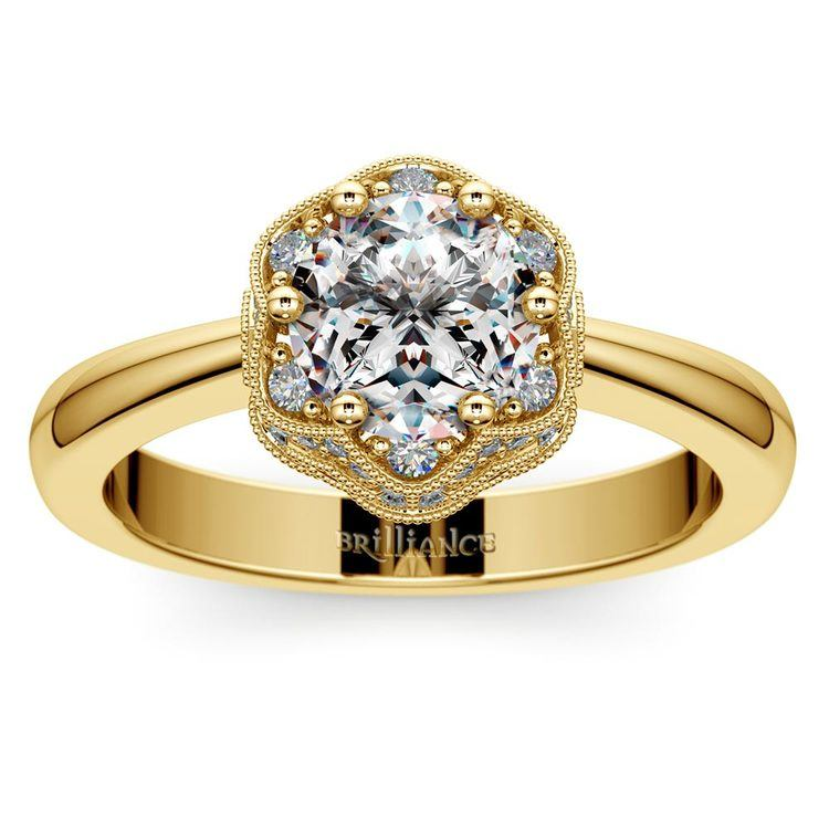 Vintage Sculptural Diamond Halo Engagement Ring in Yellow Gold | 01