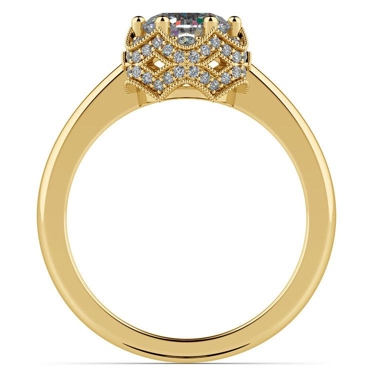 Vintage Sculptural Diamond Halo Engagement Ring in Yellow Gold | 02