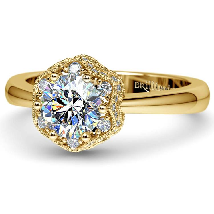 Vintage Sculptural Diamond Halo Engagement Ring in Yellow Gold | 04
