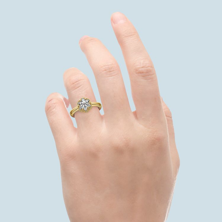 Vintage Sculptural Diamond Halo Engagement Ring in Yellow Gold | 05
