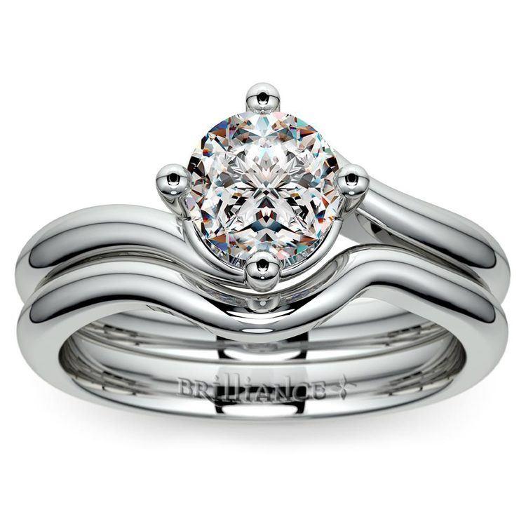 White Gold Swirl Diamond Engagement Ring & Wedding Band Set | 01