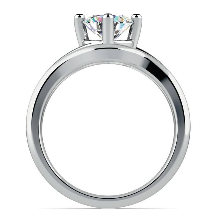 White Gold Swirl Diamond Engagement Ring & Wedding Band Set | 02